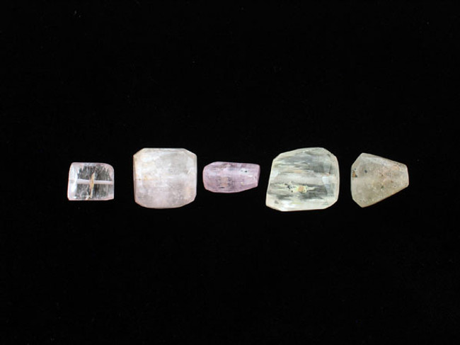 5 Count Varied Size Multicolor Kunzite Faceted Nuggets (1) (Sale)