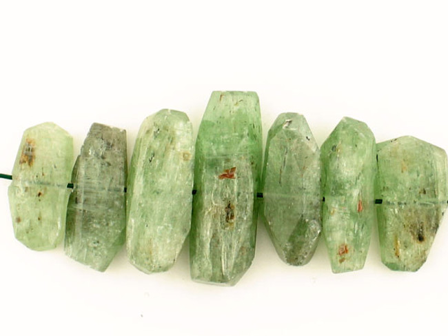 7 Count Green Kyanite Side Drilled Simple Cut Nuggets (Sale)