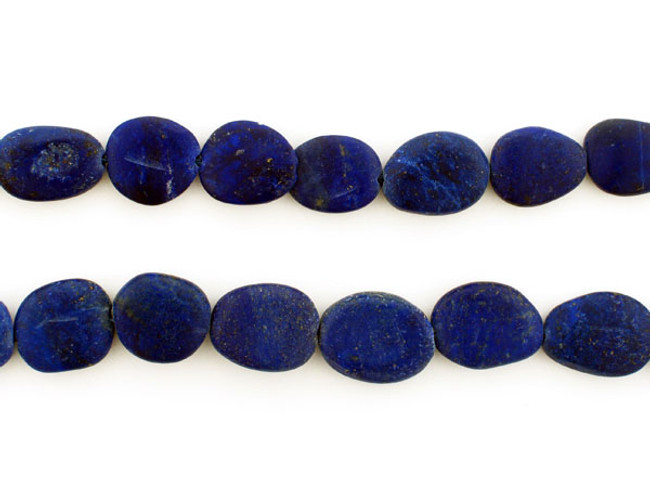 26 Count Varied Size Blue Lapis Lazuli Smooth Matte Flat Ovals (Sale)