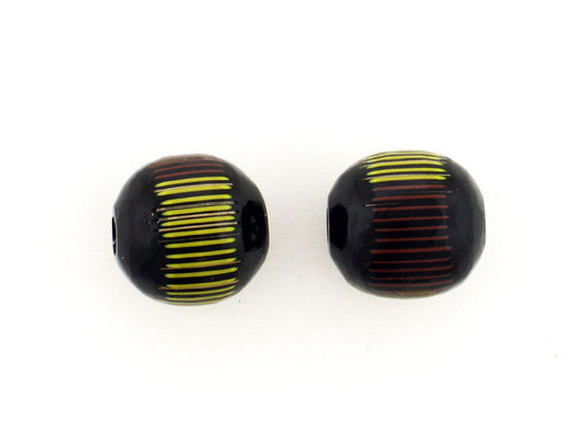 1 Count 20mm Luigi Cattelan's Yellow/ Black Italian Glass Focal Bead (Sale)