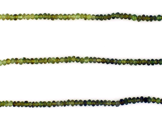 220 Count 2mm Variegated Green Tourmaline Faceted Rondelles (Sale)