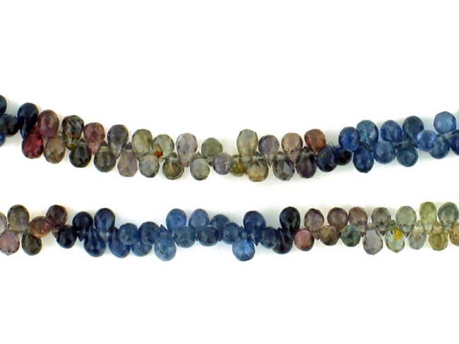 300 Count Graduated Multi-Color Sapphire Faceted Briolettes
