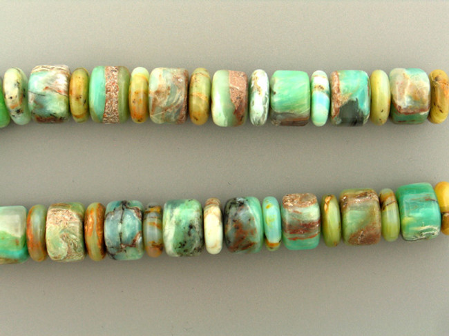 39 Count 22mm Blue Green Peruvian Opal Smooth Barrels And Rondelles (Sale)
