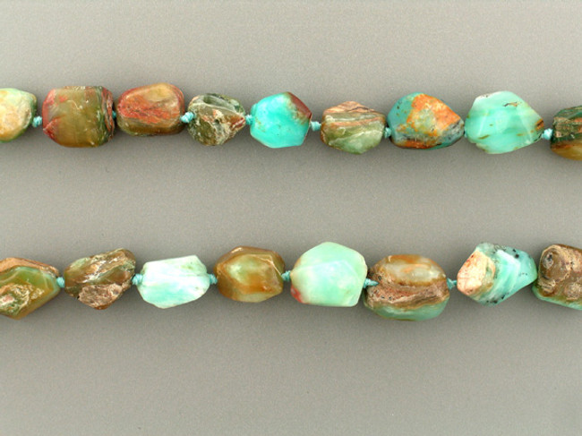 24 Count Graduated Blue Peruvian Opal Faceted Nuggets (Sale)
