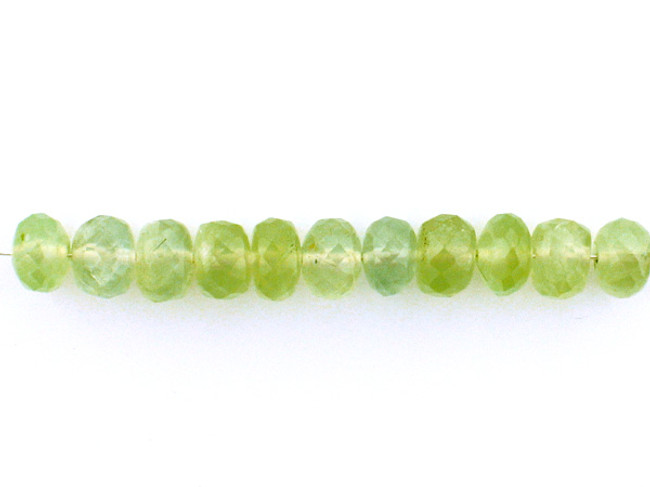 10 Count 6mm Green  Prehnite Faceted Rondelles (Sale)