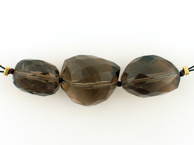 3 Count Varied Sizes Smoky Quartz Multifaceted Nuggets (Sale)