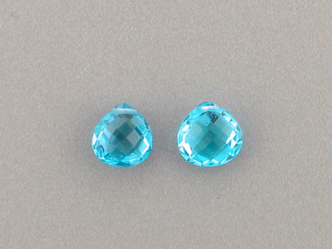 2 Count 8mm Swiss Blue Topaz Multi-Faceted Pear (Sale)