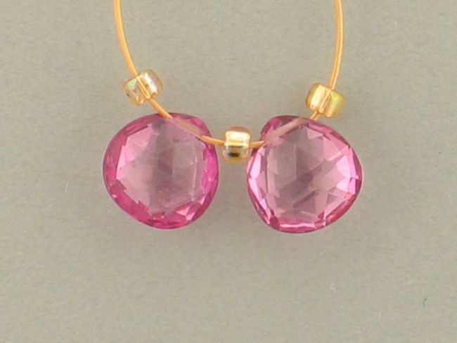 2 Count 7x7mm Pink Topaz Faceted Pears (Sale)
