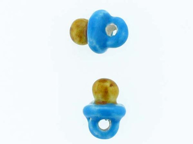 6 Count Blue Pacifier Ceramic Teeny Tiny Beads (Sale)