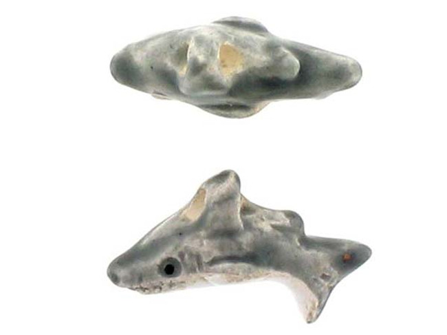 6 Count Shark Ceramic Teeny Tiny Beads (Sale)