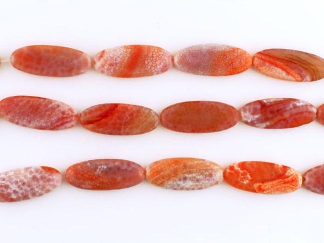 13 Count 13x30mm Fire Agate Polished Ovals (Sale)