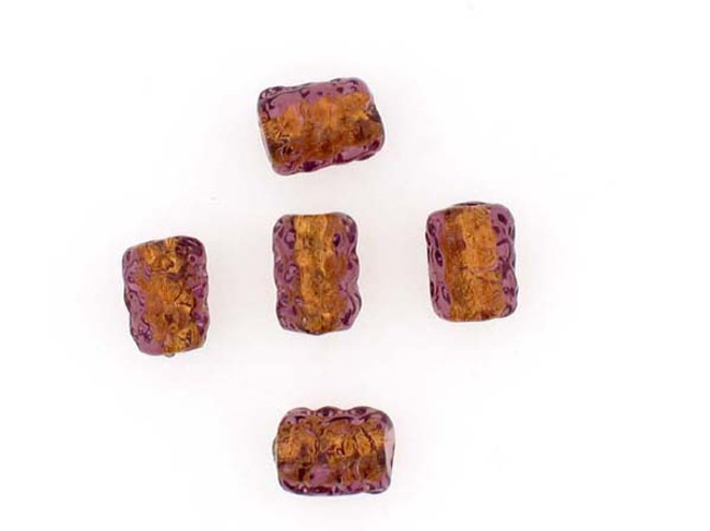 5 Count Amethyst Gold Lampwork Bead (Closeout)