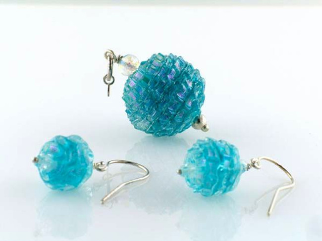 Aqua Pleated Dichroic Glass Round Pendant Earring Set (Closeout)