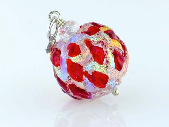 Red Crisscross Dichroic Glass Round Pendant (Closeout)