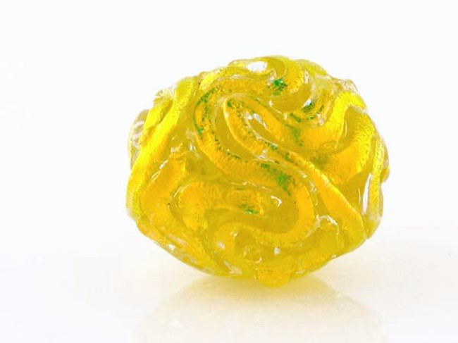 Yellow Wavy Dichroic Glass Round Bead (Closeout)
