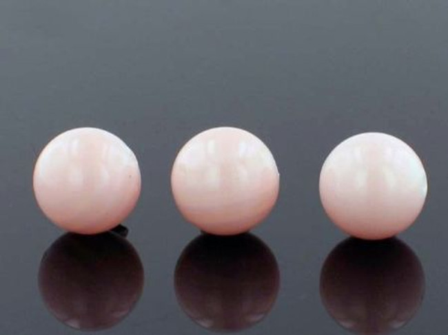 34 Count 12mm Peach Faux  Pearl Rounds (Sale)