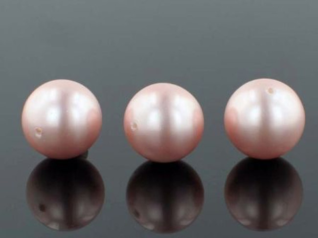 25 Count 16mm Pink Faux  Pearl Rounds (Sale)