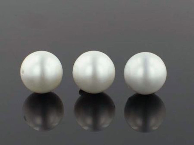 28 Count 14mm White Faux  Pearl Rounds (Sale)