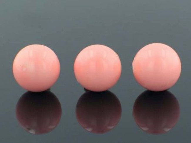 25 Count 16mm Peach Faux  Pearl Rounds (Sale)