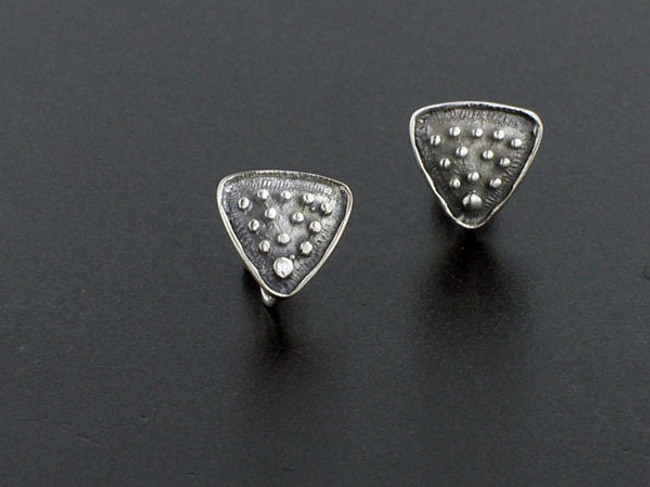 2 Pair 12mm X 12mm Triangle With Loop Post Earrings