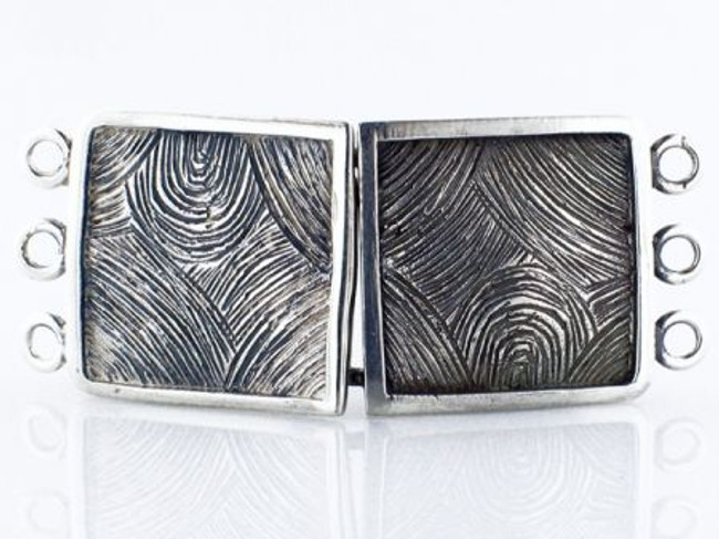 3-Strand Textured Sterling Silver Clasp - Per Each - 50mm X 21mm X 3mm