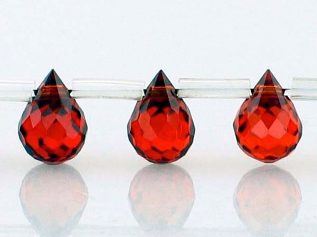25 Count 7 X 5mm Garnet Cz Faceted Briolettes (Sale)