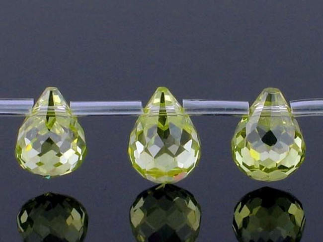 20 Count 9 X 7mm Peridot Cz Faceted Briolettes (Sale)