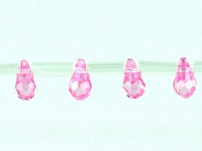 25 Count 7 X 5 Mm Pink Cz Faceted Briolettes (Sale)