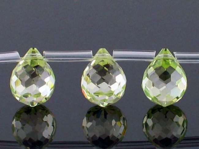 20 Count 9 X 7mm Apple Green Cz Faceted Briolettes (Sale)