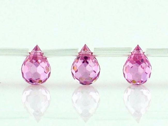 25 Count 7 X 5mm Pink Tourmaline Cz Faceted Briolettes (Sale)