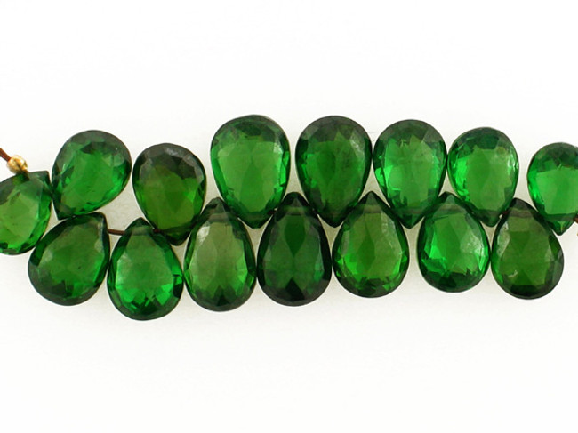 14 Count 8-10mm Green Cubic Zirconia Faceted Long Pears (Sale)