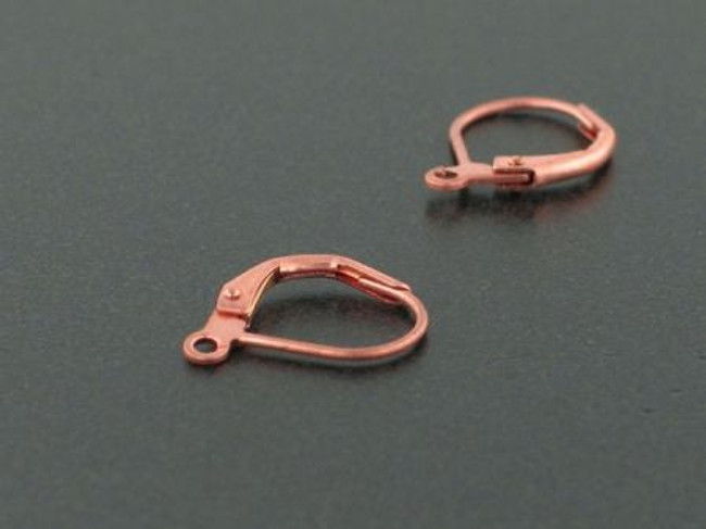 1 Pair Antiqued Copper Leverback Earrings With Open Ring