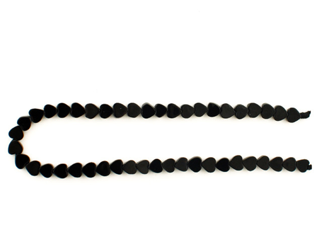 41 Count 5x5mm Black Tourmaline Smooth Hearts (Sale)