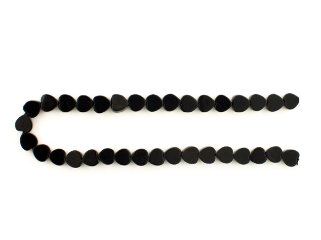 41 Count 6x6mm Black Tourmaline Smooth Hearts (Sale)