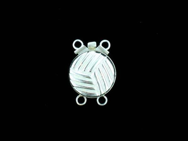 Sterling Silver 2 Strand Round Clasp - 3 Count - 15mm x 11mm x 5mm