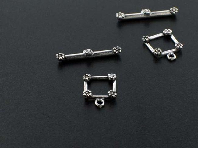 Sterling Silver Square Toggles - 2 Sets - 16mmx12mmx2mm
