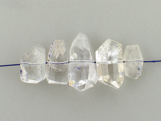 5 Count Varied Sizes Clear Quartz With Fluorite Side Drilled Simple Cut Nuggets (Sale)