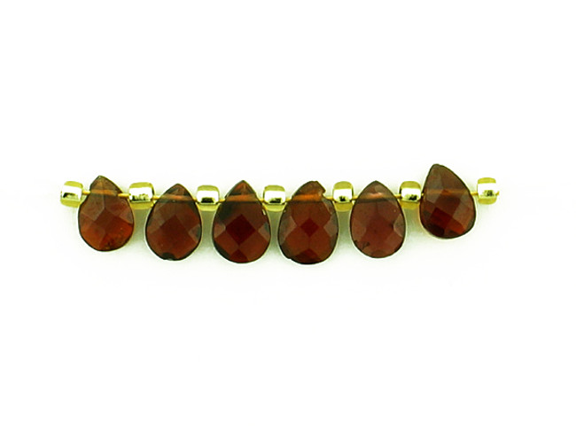 6 Count 4x5mm Brown Red Spinel Faceted Pears (Sale)