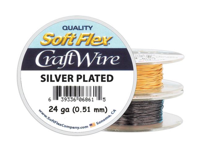Soft Flex Craft Wire Silver Plated - 24ga/.511mm - 60 ft/20 yd/18 m