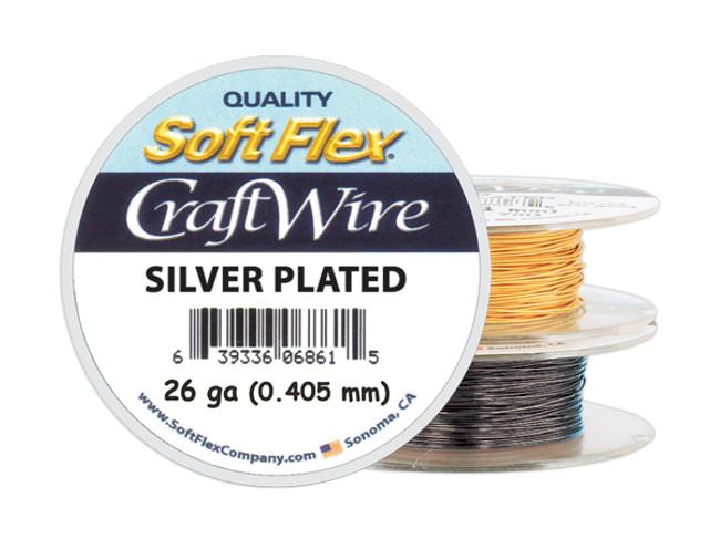 Soft Flex Craft Wire Silver Plated - 26ga/.405mm - 90 ft/30 yd/27 m