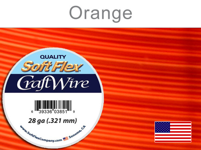 15 Yds 28 Ga Silver Plated Orange Soft Flex Craft Wire (Closeout)