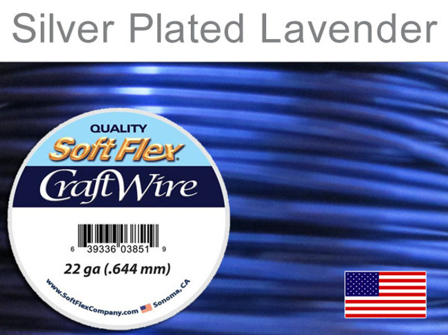 10 Yds 22 Ga Silver Plated Lavender Soft Flex Craft Wire (Closeout)