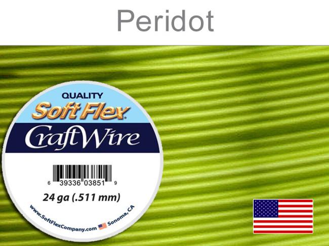 15 Yds 24 Ga Silver Plated Peridot Soft Flex Craft Wire (Closeout)