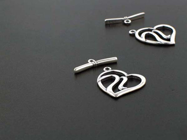 Sterling Silver Large Heart Toggle - 1 Set