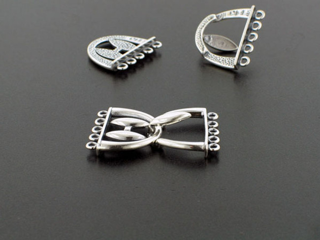 5-Strand Sterling Silver Hook And Eye Clasp - 1 Set (Closeout)