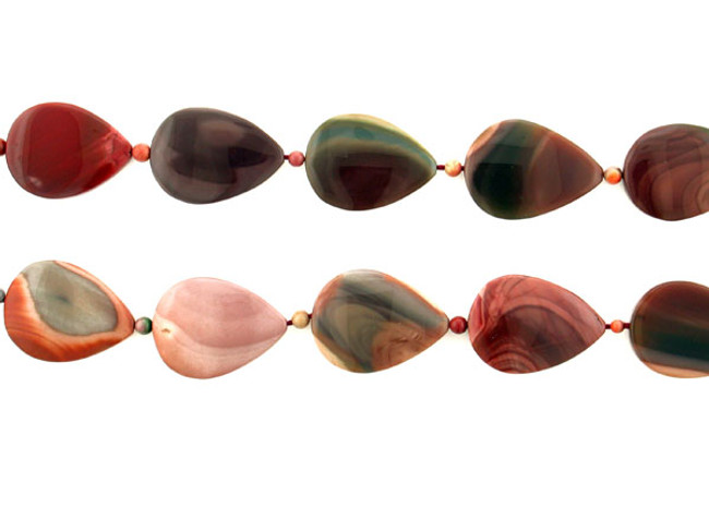 22 Count Multicolor Imperial Jasper Polished Pears And Rounds (Sale)