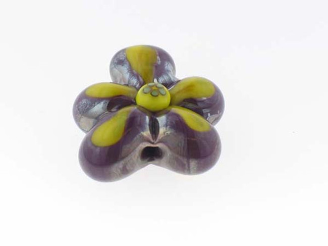 1 In X 1 In X 1/2 In Dark Purple And Yellow Flower Bernadette Fuentes Glass Bead (Closeout)