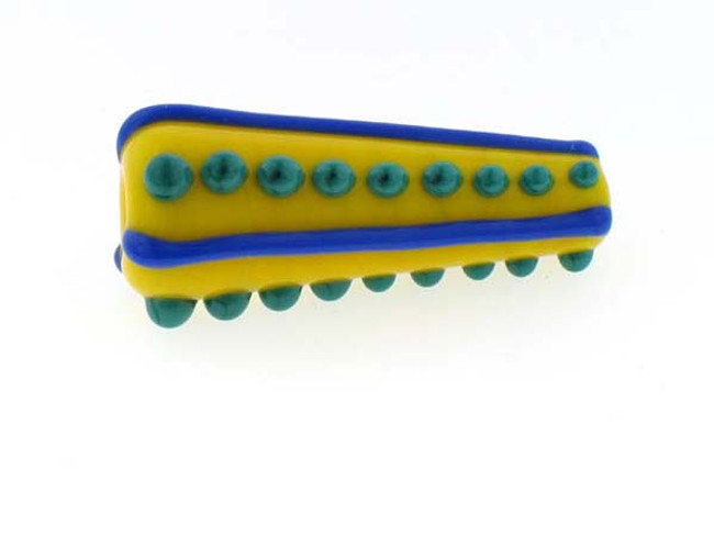 .5 In Yellow-Lapis-Green Bicone Bernadette Fuentes Glass Bead (Closeout)