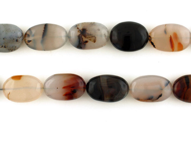15 Count Varied Size Moss Agate Smooth Ovals (Sale)