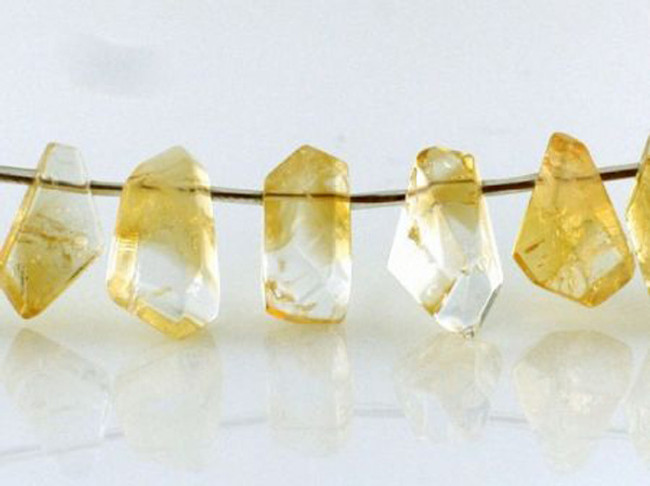 15 Count Citrine Polished Simple Cut Drop Nuggets (Sale)